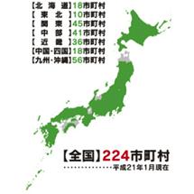 全国224市町村にて使用されています。